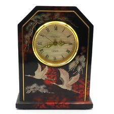 Black Lacquered Japan Quartz Mantel Shelf Clock With Flying Cranes By Pharmant