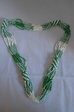 Green and White Bead Necklace - Never Worn. Handmade in Africa. 14 inches