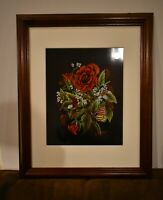 Framed Matted Folk Floral And Monarch Butterfly Art Print Signed Numbered no.1
