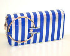 Portefeuille argent bleu femme faux cuir portemonnaie clutch bag zip scarff G30