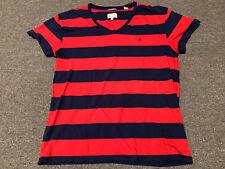 Gant Rugger V-Neck Striped T-Shirt Sz L American Sportswear 100% Cotton