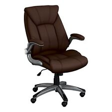 Norwood Commercial Furniture Executive Chair with Flip-Up Arms, Brown, NOR-OUG10