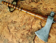 CUSTOM HANDMADE DAMASCUS STEEL RARE PIPE AXE SMOKING TOMAHAWK W/ LEATHER SHEATH