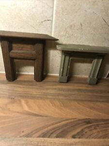 Vintage Dolls House  Pair Of 1/12  Wooden Surround Fireplaces