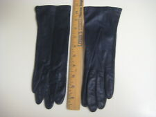 Vintage Nordstrom Navy Leather Gloves 100% Antron Nylon Lined Size 8