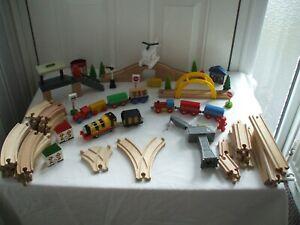 WOODEN TRAIN SET BUNDLE TRACKS TRAINS HAROLD HELI COMPAT BRIO THOMAS E.L.C ECT
