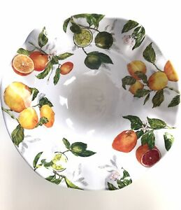 Nicole Miller Lemon Orange Lime CITRUS LG Melamine Salad Serving Bowl Scalloped