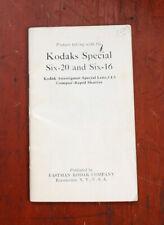 KODAK SIX-16, SIX-20 SPECIAL INSTRUCTION BOOK, COVERS MISSING/cks/201099