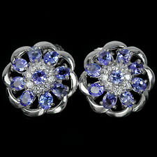Sterling Silver 925 Genuine Natural Rich Blue Violet Tanzanite Stud Earrings #2