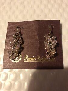 Premier Designs Petals Pink Facet Crystal Beads Cluster Dangle Earrings