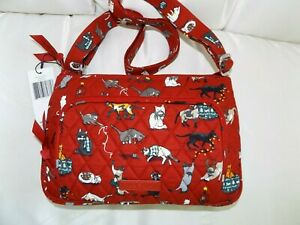 VERA BRADLEY Little Hipster Holiday Cats Kittens Red - Calico - Siamese - NWT