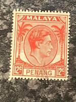MALAYAN STATES PENANG POSTAGE STAMP SG12 12C SCARLET FINE USED