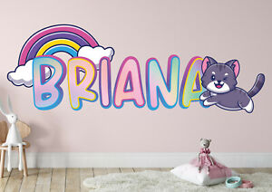Cat Rainbow Clouds Custom Vinyl Lettering Stickers Wall Decals Name Art KA458