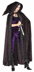 Long Black Velvet Hooded Cape, Purple Spider Web Trim, Vampire, Medieval