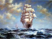 CHOP695 big ocean wave sailing boat seaway seascape oil painting art on canvas