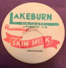 Vintage milk cap LAKEBURN Dairy N.E Skim Milk