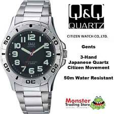 Q&Q Men's Stainless Steel Band Adult Wristwatches