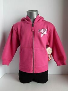 """Farm Girl Brand """"Farm Girl, Girly But Tuff"""" Pink Zippered Hoodie Size: 2T,3T,4T"""