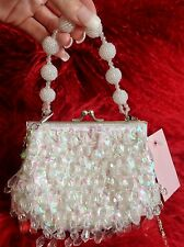 VINTAGE WHITE SMALL BEADED CLUTCH BAG .... WOMENS