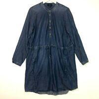 Lucky brand long sleeve denim chambray dress blue size large