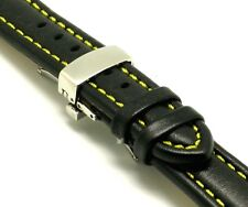 20mm Replacement Black/Yellow Leather Watch Strap DEPLOYMENT CLASP