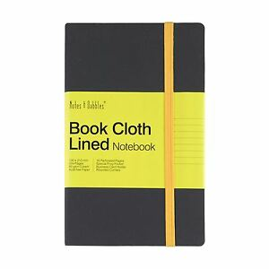 Luna - Small Lined Cloth Notebook, Grey Cover - Yellow, New