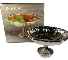 """Vintage Oneida Scalloped Silverplate Chippendale Style Compote 5.5"""" X 3.5"""" NIB"""