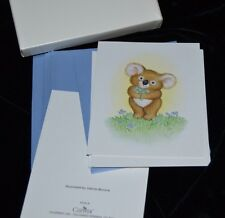 Vtg 90's Valerie Morone 8 Note Cards KOALA BEAR Holding Flowers Current, Inc.