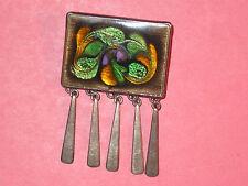 Mid-Century Modern Enamel & Sterling Pin / Pendant ~ Hand Made ~ Dangles