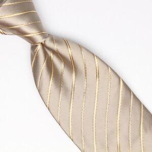 Gladson Mens Silk Necktie Champagne Beige Gold Satin Stripe Weave Woven Tie