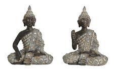 2er Set Buddha Figuren sitzend 14 cm Feng Shui Deko