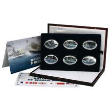 2013 six 1$ oval Battleships of World War II Proof Colored Coins Set from Tokela