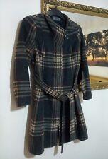 Per Una Coat Size 14 Check Tartan Grey Beige