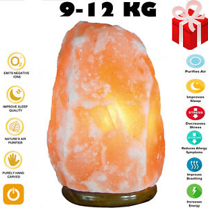 9-12 Kg Natural Himalayan Salt Lamp Rock Crystal Pink Healing Ionising Salt lamp