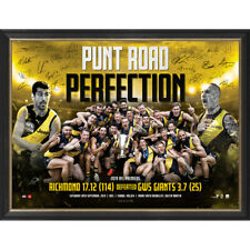 """Richmond Signed 2019 AFL Premiers """"Punt Road Perfection"""" Official Print Framed"""
