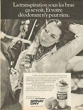 Publicité 1966  GILLETTE  spray dry déodorant anti-transpirant