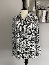 White And Black Animal Print Blouse Size M /L UK12-14