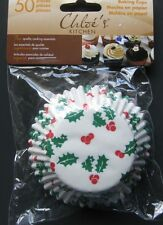 50ct-Chloe's Christmas Baking Cupcake Muffin Liners-Full Size-Holly Motif