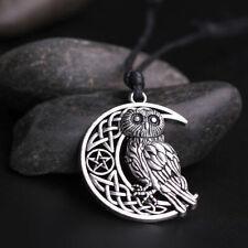 Goddess Crescent Moon Pendant Owl Necklace Wicca Pentagram Amulet Talisman Gift