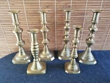 6 Antique Brass Candlesticks Candle Holders Beehive Pattern England 19th Century