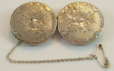 ANTIQUE EDWARDIAN FLORAL ENGRAVED SILVER SWEETHEART PIN BROOCH - PAIR OF BUTTONS