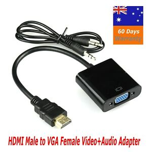 HDMI Male to VGA Female 1080p Adapter + Audio Cable Converter Chipset Built in