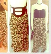 Leopard Print Strapless High Low Maxi Dress With Black Bustier Style Top