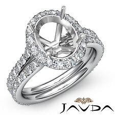 Diamond Engagement Ring Oval Shape Semi Mount18k White Gold  Halo Setting 1.26Ct