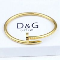 "DG Women's 6.5"" Stainless Steel,Gold Round Nail Bangle Bracelet *Unisex*Box"