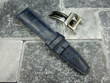 20mm Blue Grain Leather Strap Deployment Buckle Watch Band SET Top Gun PILOT V