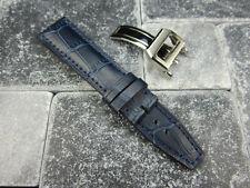 21mm Blue Grain Leather Strap Deployment Buckle Watch Band SET TOP GUN PILOT V