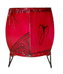 Votive Candle Holders Goat Skin Moroccan Henna Decorated Table Top Small Magenta