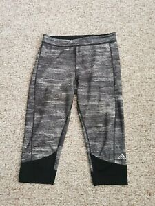 Ladies ADIDAS Climate Tech Fit 3/4 Grey Marl And Black Legging Size M 12/14
