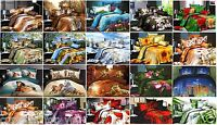 SATIN DOUBLE! 4 PCS !3D BEDDING SETS PRINTED SILKY EFFECT HIGH QUALITY!20 MODELS